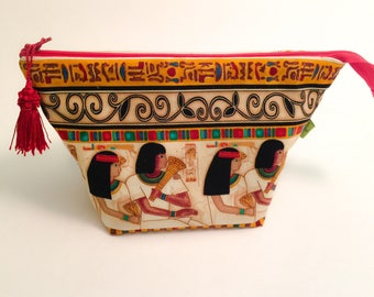 Makeup bag, cosmetic bag, Egyptian theme, ancient Egypt motif, toiletries bag, zipper pouch, travel bag, wash bag, Dopp kit