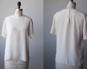 Vtg Ivory SILK T-shirt Short Sleeve Classic Blouse Minimal Basic Simple Minimalist 80s M