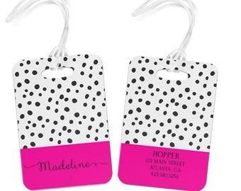 Luggage tag Personalized tag custom monogram tag  Bag Tag dot pattern choose monogram and colors