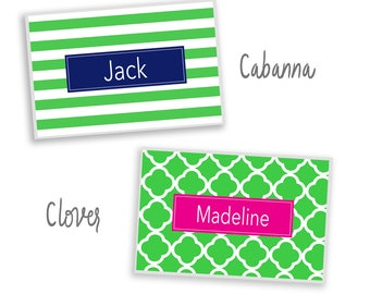 Personalized placemat Reversible cabana clover green hot pink choose pattern, monogram and colors