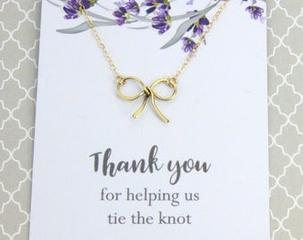 "Wedding Jewelry Gift, Silver or Gold Ribbon Necklace, Bridal Wedding Gift, "" Thank you for helping us tie the knot"" Message card Jewelry"