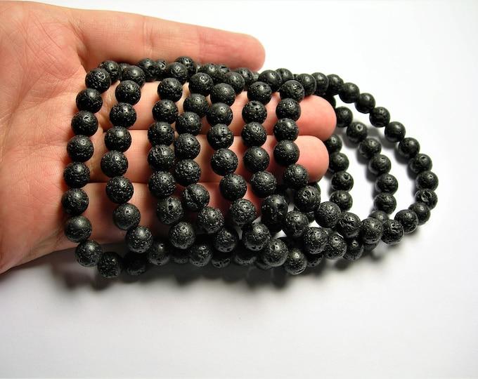 Lava volcanic gem - 8mm round beads - 23 beads - 1 set - A quality - HSG86