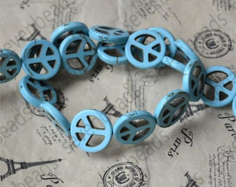 Dyed blue 20mm Charm Peace mark turquoise stone beads,Turquoise Nugget Free Turquoise Gemstone Beads loose strands