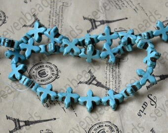 14mm blue Charm cross turquoise stone beads,Turquoise round Free Turquoise Gemstone Beads loose strands