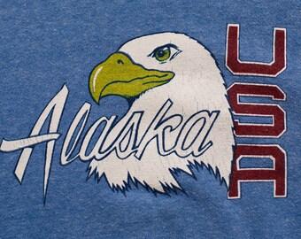 Alaska USA Bald Eagle Raglan Sweatshirt, Vintage 80s, Long Sleeve Crewneck Shirt, Sportswear Brand, Pullover Souvenir Apparel