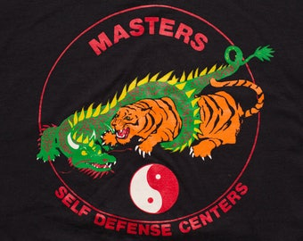 Masters Self Defense Centers T-Shirt, Kenpo Karate Martial Arts, Vintage 90s, Braintree MA, Dragon and Tiger Graphic Tee, Yin Yang