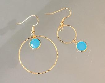 Blue crystal earrings !
