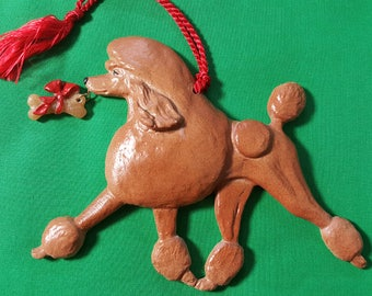 Poodle Silver Christmas Ornament
