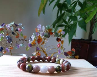 "Handmade Genuine Lepidolite  Bracelet, Natural Lepidolite Gemstone Stretch 7"" Bracelet,Protection, Calming, Success in Business Bracelet"
