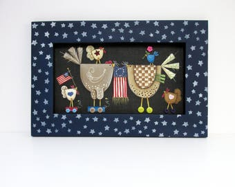 Patriotic and Whimsical Chickens with American Flags, Tole Painted, Framed in a Hand Crafted Reclaimed Wood Frame, Americana, Folk Art