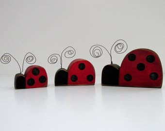 Three Rustic Lady Bugs with Black Glitter Dots, Wood Shelf Sitter, Hand or Tole Painted, Red Lady Bugs,Wire Antenna,Hand Crafted and Painted