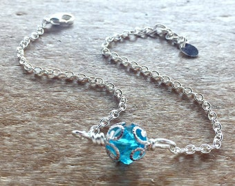 Blue Crystal Silver Ankle Bracelet - Minimalist Anklet - Crystal Blue Czech Bead - Vacation Jewelry - Gifts for Her
