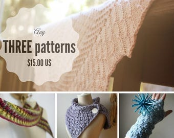 Knitting Patterns / Pattern Bundle / Choose Three Patterns (Your Choice) / PDF Digital Delivery