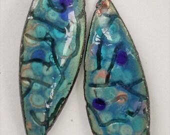Enamel Jewelry Findings  Embossed WIllow Leaf Drop 2017 F-710