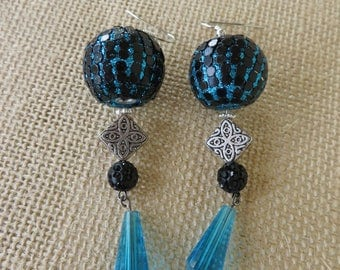 Black And Teal Mixed Textures Beaded Statement Earrings