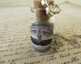 Apothecary Jar Of Bat Dust With Bat Charm Necklace