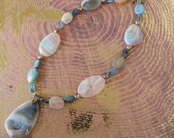 Agate Slice Kyanite And Crystal Beaded Necklace With Druzy Agate Pendant