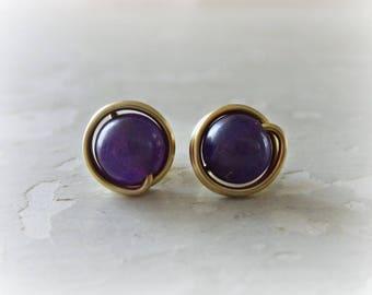Amethyst Stud Earrings, Brass Post Earrings, February Birthstone, Stone Stud Earrings, Gemstone Studs, Brass Studs, Amethyst Post Earring