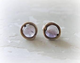 Brass Post Earrings, Amethyst Studs, Lavender Post Earrings, Patina Earrings, Raw Brass Studs, Oxidized Stud Earrings, Natural Stone