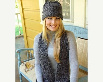 Crochet Homespun Scarf/Hat Set - Christmas Gift - You Choose Color - Made to Order