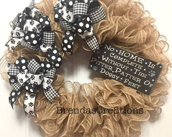 Dog Wreath, Hostess Gift for Dog Lover, Beware of Dog Kisses, Dog Themed Wedding Gifts, Modern Wreaths for Front Door, Rustic Home Decor