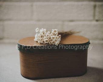 White Flowers on a Brown Box
