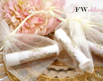 25  LIP BALM Favors ~  Sweetened flavors ~ Custom designed Labels ~ Wedding ~ Bridal Shower ~ Quinceanera ~ Made in 7 days