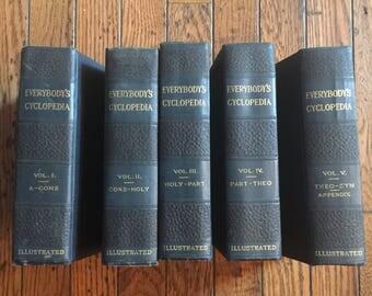 1912 Everybody's Encyclopedia Illustrated 5 Volume Book Set