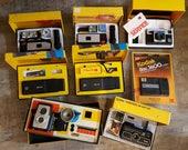 Lot of 8 Kodak Camera Kits with Original Boxes / Packaging: Instamatic, Brownie Starflex, etc (1950s, 1970s, & 1980s Vintage Cameras)