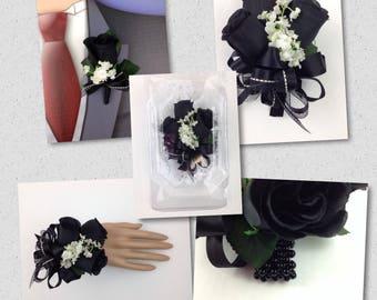 New Artificial Black Rose Corsage, Black Rose Mother's Corsage, Black Boutonniere, Black Bout