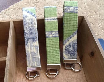 Key Chain Wristlet Key Fob Green Blue Off WhiteToile Home Decor Fabric