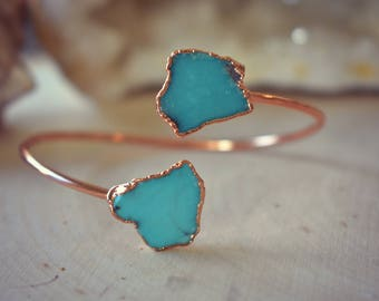 TURQUOISE WRAP BANGLE /// Rose Gold