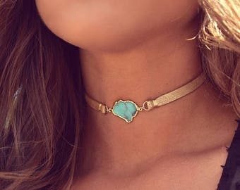 XMAS IN JULY Sicily Choker /// Turquoise Leather Choker