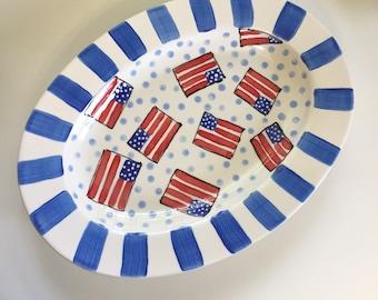 USA flag platter, Fourth of July platter, 4th of July Party, July 4th party platter, American flag dish, usa theme platter, summer platter