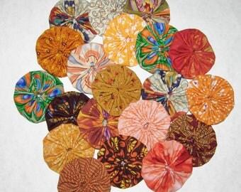 "Fabric YoYos, 20 Orange, Rust Prints, 2"" Size"
