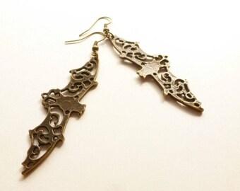 Bat earrings, bronze bat dangles, Chiroptera, Bat Jewelry, Bat Ear Glam, Bat humor, Long Pierced Bat earrrings