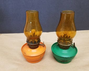 Vintage Pair of Minature Oil Lamps