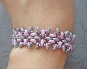 Beaded Bracelet Pattern - Sweet Pink Grey Superduo Bracelet (BB179) - Beading Jewelry PDF Tutorial (Digital Download)