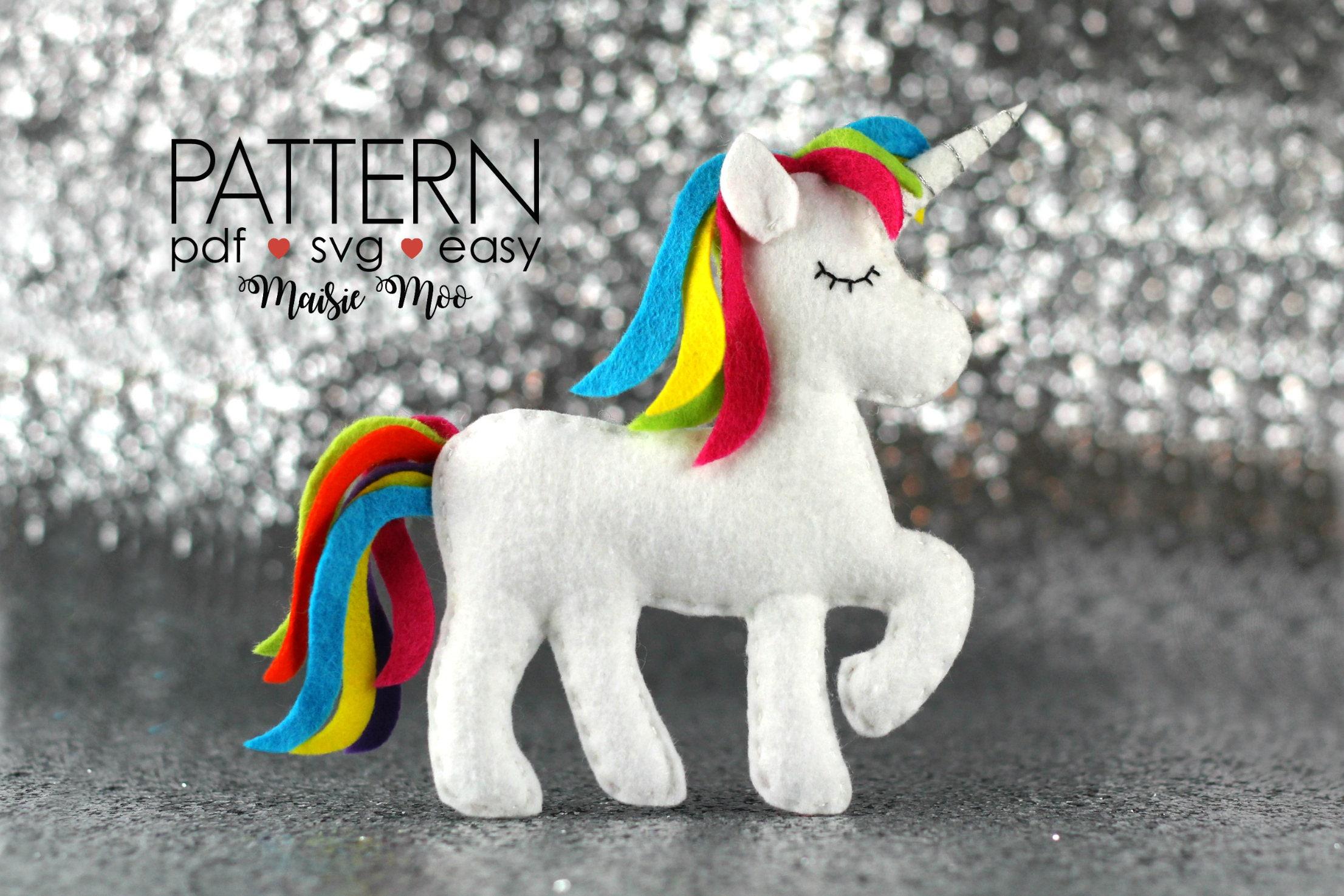 Unicorn Sewing Pattern Pdf Unicorn Pattern Felt Unicorn