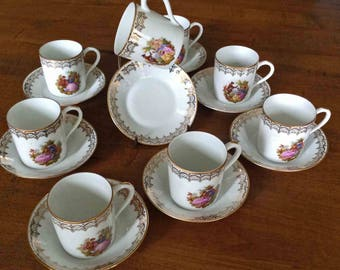 16 Pc Limoges Demitasse Set, MINT Condition, Courting Couple, Fragonard, Espresso Cups, Demi Set