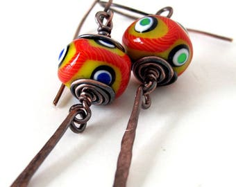 Evil eye jewelry evil eye earrings evil eye charm  vodou voodoo jewelry evil eye unusual earrings copper jewelry