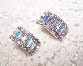 Large Vintage AB Rhinestone Statement Clip Earrings Crystal Hard to Find Large Glass Rhinestones Emerald Cut