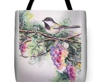 Tote Bag with Chickadee bird and Grapes- Wearable Art Bright Colors Purse Carryall Bag Mom Grandma Nature Birdwatching Gifts