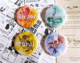Hogwarts Houses Pinback Buttons SET OF FOUR Harry Potter Geeky Badges