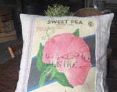 Grain Sack Pillow Cover   Pink Sweet Pea by Gathered Comforts