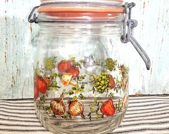 Vintage Mushroom Theme Retro Canister Jar, Artichoke Tomato Pepper Spice, Locking Lid Jar 3/4 Liter