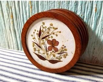 Yearly Big Sale: Vintage Mid Century Teak Wildflower Coaster Set, 6 Coasters with Real Pressed Wild Flowers