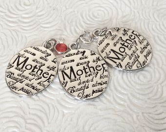 """3 - """"Mother"""" Stamped Word Pendant, Mother Love necklace, devoted, beautiful, strong, bangle charm,  Family jewelry"""