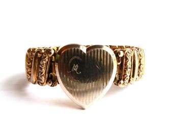Vintage Rose Gold Filled Expandable Heart Engraved Locket Bracelet - Initial M - WWII Sweetheart Bracelet - 1940s - Signed LACO