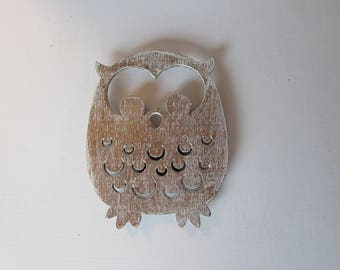 Weathered Wood Owl Magnet Whimsical Cottage Traditional Farmhouse Children MidCentury Style Owl One of a Kind Ready to Ship M-5